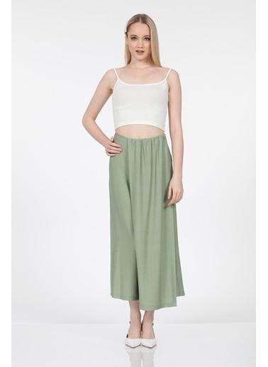 Vitrin Etek Görünümlü Bol Paça Pantolon Yeşil